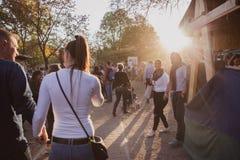 BUDAPEST, HUNGRÍA - OKTOBER 14, 2018: Cs skal Fesztiv l 2018 de K rt Panaderos que preparan y que venden el calle húngaro tradici imagen de archivo libre de regalías
