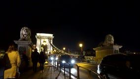 Budapest, Hungria - 11 11 2018: Vista bonita da ponte de corrente sobre o Danúbio em Budapest na noite vídeos de arquivo