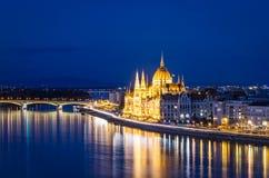 Budapest i Danube, parlament Obraz Royalty Free