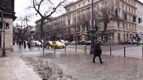 Budapest, il 19 gennaio 2019 vista della via centrale a Budapest, Ungheria stock footage