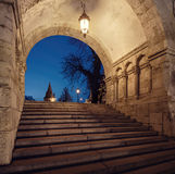 Budapest,illumniated entrance arch to Fishermans Bastion Stock Photography