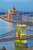 Budapest. Image of hungarian parliament and Chain Bridge in Budapest during twilight blue hour Royalty Free Stock Images