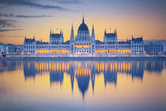 Budapest. Image of hungarian parliament in Budapest during sunrise Stock Photos