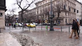 Budapest, 19 January 2019 View of central street in Budapest, Hungary. In winter with snow stock video footage