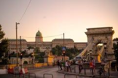 BUDAPEST - juillet 2015 - le pont à chaînes de Szechenyi à Budapest, Ca Photographie stock libre de droits