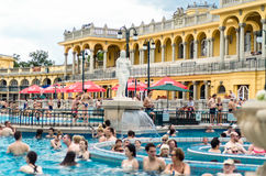 BUDAPEST - July 2015- People having thermal bath in the Szecheny Stock Photos