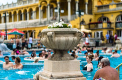 BUDAPEST - July 2015- People having thermal bath in the Szecheny Royalty Free Stock Photography