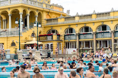 BUDAPEST - July 2015- People having thermal bath in the Szecheny Royalty Free Stock Image