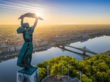 Budapest, l'Ungheria - vista aerea dalla cima della collina di Gellert con la statua della libertà, Liberty Bridge e orizzonte di fotografia stock libera da diritti