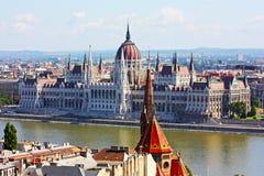 Budapest, la costruzione del Parlamento Fotografia Stock Libera da Diritti