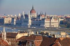 Budapest, la Hongrie, Parlement et vieille ville image libre de droits