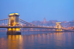 Budapest landmarks at night, Hungary Royalty Free Stock Photography