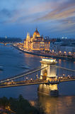 Budapest Landmarks. At Sunset, Chain Bridge and Parliament stock photography