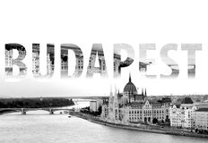 Budapest Lettering in Black and White Hungary Europe. Budapest Lettering in Black and White in Hungary in Europe royalty free stock photography