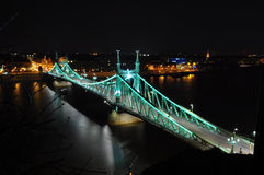 Budapest Liberty Bridge. At night as seen from Gellerthegy Stock Photography