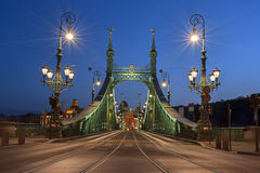 Budapest Liberty Bridge at Night Stock Image