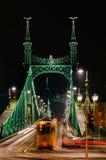 Budapest Liberty Bridge at night Stock Photos