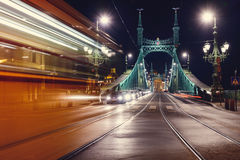 Budapest  liberty bridge. Night view at liberty bridge in Budapest with trams passing Stock Images