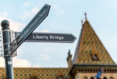 Budapest liberty bridge signpost, Hungary, Europe. Royalty Free Stock Photo