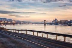 Budapest linia horyzontu, piękny pejzaż miejski historyczny okręg, Węgry, Europa zdjęcia stock