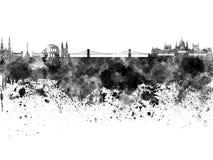 Budapest linia horyzontu w czarnej akwareli Obrazy Royalty Free