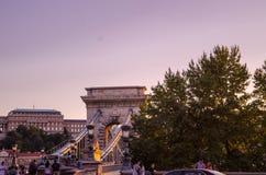 BUDAPEST - Lipiec 2015 - Szechenyi Łańcuszkowy most w Budapest, ca Obrazy Stock