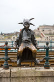 Budapest The little Princess Jester statue against Buda panorama Royalty Free Stock Photography