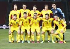 Ungarn gegen Rumänien-Fußballspiel Stockbild
