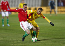 Ungarn gegen Rumänien-Fußballspiel Lizenzfreie Stockbilder