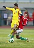 Ungarn gegen Rumänien-Fußballspiel Lizenzfreies Stockfoto