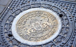 Budapest manhole cover royalty free stock images