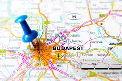 Budapest on map. With push pin Royalty Free Stock Photos