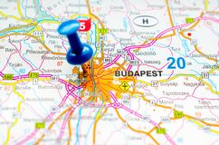 Budapest on map. With push pin stock photography