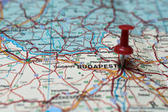 Budapest on map. Macro shot of Budapest map with push pin royalty free stock photo