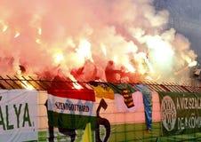 Ferencvárosi TC (FTC) vs. Újpest FC (UTE) football game Stock Image