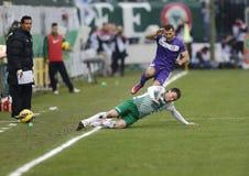 Rosi TC (FTC) del ¡ di Ferencvà contro la partita di football americano di Ãjpest FC (UTE) Fotografie Stock Libere da Diritti