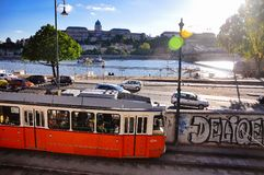 The Budapest Metro by the Danube River in Budapest, Hungary. The sun sets on the Budapest Metro by the Danube River in Budapest, Hungary stock image