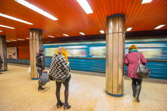 Budapest Metro. At night and people stock image