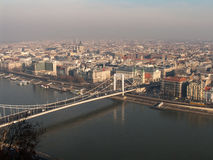 Budapest in the morning mist. View of the Budapest city and chain bridge from the Gellert hill royalty free stock image