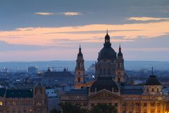 Budapest. Morning view of St. Stephen`s Basilica in Budapest, Hungary Stock Photo