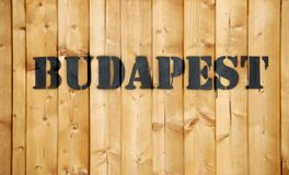 Budapest label on wooden cargo box Royalty Free Stock Image