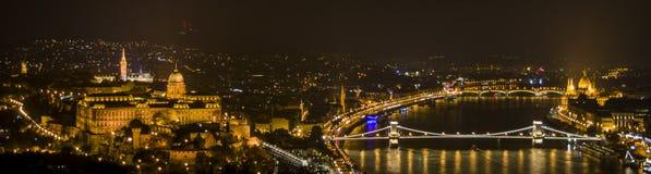 budapest natt Arkivfoto