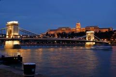 budapest natt Fotografering för Bildbyråer