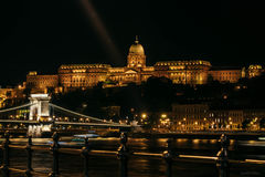 Budapest never sleeps. Night in Budapest on Danube`s shore Stock Photo