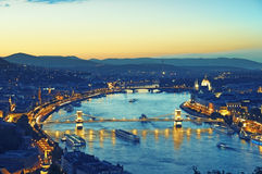Budapest at night. Budapest view form Gellert Hill, Citadella. (This view includes Chain Bridge and Parliament building stock photography