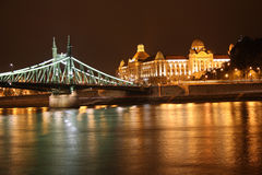 Budapest at night. The night scene of the Budapest bridge and the Danube river Royalty Free Stock Images