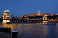 Budapest at night. At the evening on a nice summer, the chain bridge and his palace in budapest light on stock image