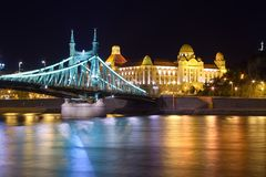 Budapest night bridge. Liberty bridge at night, Budapest, Hungary Royalty Free Stock Photo
