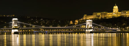 Budapest by night. Chain bridge at night in Budapest, Hungary Stock Photography