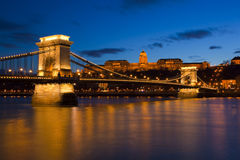 Budapest at night, Danube, Bridge, Hungary Royalty Free Stock Photography